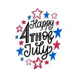 Quatrième heureux de juillet, lettrage de main Calligraphie de vecteur pour le Jour de la Déclaration d'Indépendance sur le fond  illustration libre de droits