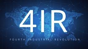 Quatrième Révolution Industrielle sur la bannière de hud illustration stock
