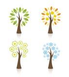 Quatro árvores da estação Fotos de Stock Royalty Free