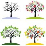 Quatro árvores das estações Imagens de Stock Royalty Free