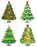 Quatro árvores de Natal ilustração stock