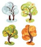Quatro árvores simples da estação Fotos de Stock Royalty Free