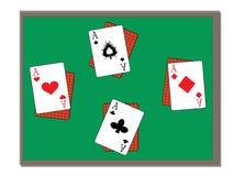 Quatro ás na tabela verde Ilustração Stock