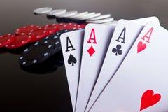 Quatro ás no póquer Fotografia de Stock Royalty Free