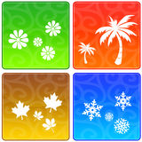 Quatro ícones das estações Imagens de Stock Royalty Free