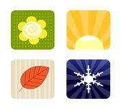 Quatro ícones das estações Foto de Stock Royalty Free