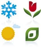 Quatro ícones das estações Fotos de Stock Royalty Free