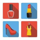 Quatro ícones diferentes em um estilo liso Imagens de Stock