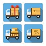 Quatro ícones diferentes em um estilo liso Imagens de Stock Royalty Free