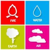 Quatro ícones dos elementos ajustados Imagens de Stock Royalty Free