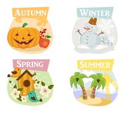 Quatro ícones lisos das estações: inverno, mola, verão, outono Fotos de Stock Royalty Free
