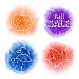 Quatro ícones no fundo da aquarela do outono borram Imagens de Stock