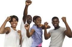 Quatro amigos africanos na alegria imagens de stock