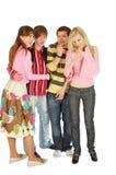 Quatro amigos engraçados Fotografia de Stock
