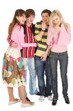 Quatro amigos riso e careta Imagens de Stock