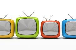 Quatro aparelhos de televisão coloridos ilustração do vetor