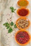 Quatro bacias com açafrão, pimenta, hanout do en dos ras, hortelã fresca Fotografia de Stock