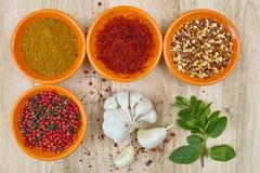 Quatro bacias com açafrão, pimenta, hanout do en dos ras, hortelã fresca e Imagens de Stock Royalty Free