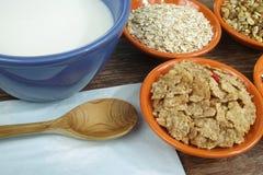 Quatro bacias pequenas com cereais diferentes e bacia com leite, alimento saudável Fotografia de Stock Royalty Free