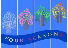 Quatro bandeiras das estações. árvores. vetor. Fotos de Stock Royalty Free