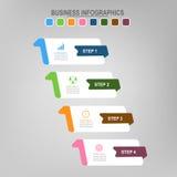 Quatro bandeiras para o infographics, vetor do conceito do negócio Imagens de Stock