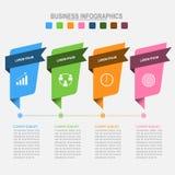 Quatro bandeiras para o infographics, vetor do conceito do negócio Imagem de Stock Royalty Free