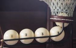 Quatro bolas no bolso, marcado em ordem, close-up imagens de stock