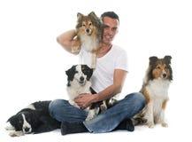 Quatro cães bonitos e homem fotos de stock