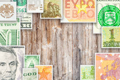 Quatro cédulas principais das moedas do mundo na colagem quadrada Imagem de Stock Royalty Free