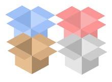 Quatro caixas abertas Fotografia de Stock
