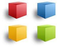 Quatro caixas coloridas Fotos de Stock Royalty Free