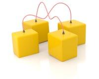 Quatro caixas conectadas Imagem de Stock Royalty Free