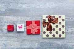Quatro caixas de presente Fotografia de Stock Royalty Free