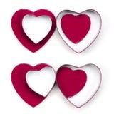 Quatro caixas de presente do coração do Valentim imagem de stock