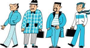 Quatro caráteres dos homens ilustração stock