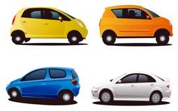 Quatro carros da silhueta Imagens de Stock
