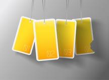 Quatro cartões amarelos de suspensão Fotos de Stock Royalty Free
