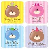 Quatro cartões Assorted do bebê ilustração stock