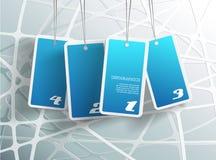 Quatro cartões azuis de suspensão. Fotografia de Stock Royalty Free