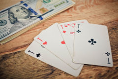 Quatro cartões de jogo do póquer dos ás Fotografia de Stock Royalty Free