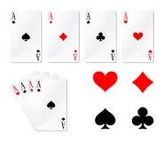 Quatro cartões de jogo dos áss Imagens de Stock Royalty Free