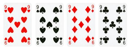 Quatro cartões de jogo isolados no fundo branco imagem de stock royalty free