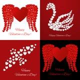Quatro cartões de Valentine Day Fotos de Stock Royalty Free