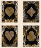 Quatro cartões dourados do póquer ilustração stock