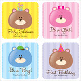 Quatro cartões Assorted do bebê Foto de Stock