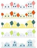 Quatro casas Foto de Stock Royalty Free