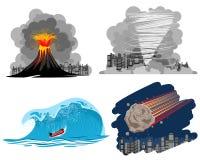 Quatro catástrofes naturais Imagem de Stock