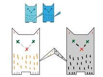 Quatro caudas de gato coloridas estão tocando Ilustração do Vetor
