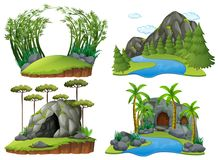 Quatro cenas com montanhas e árvores ilustração royalty free