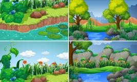 Quatro cenas com rio e árvores Imagens de Stock
